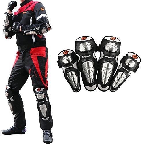 COFIT 4 Pieces Motorrad Knie Ellenbogen Schutz Set mit Edelstahl-Getriebe Guard Armour für Motocross-Rennen Mountainbiking