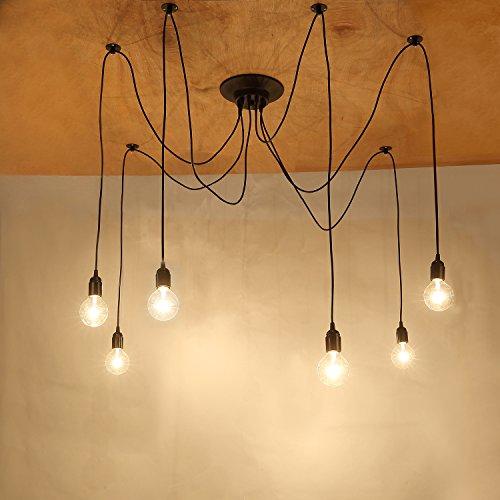 Netboat base lampadine lampadario pendente vintage,lampade a sospensione e plafoniere,6 arms