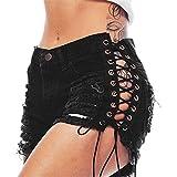 LAEMILIA Femmes Vintage Taille Baisse Denim Shorts Chaud Jeans Pants Été Punk Rock Troué Bandage Pantalons Courtes (FR42)