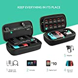Nintendo Switch Case, UGREEN Travel Bag Pouch Protective Carry Case with 10 Game Cartridges and Zipped Mesh Pocket for Nintendo Switch Console, Joy-Con, Cables, Charger, Card Games and other Gadget Accessories
