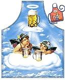 Bayrische Kochschürze Motiv Schürze Oktoberfest Volksfest Bier : 2 Engel im Bierhimmel -- Themenschürze mit Minischürze für Flaschen