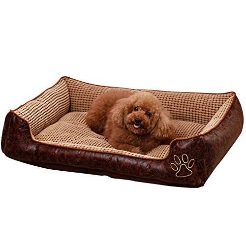 AcornPets B-602 Deluxe Coffee Color Large Dog Bed Cat Pet Pillow Fleece 90 x 70 CM For Large Dogs, Using Fur Velvet, Oxford Frabric, Detachable and Washable