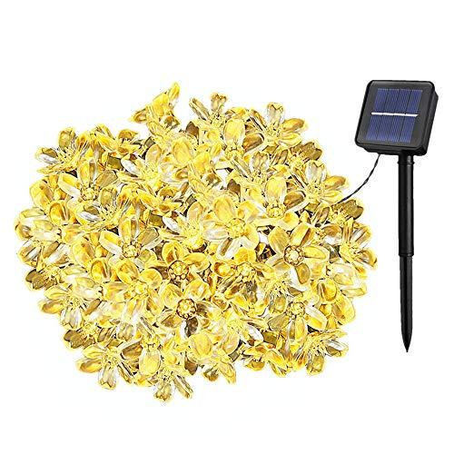 Solarbetriebene Garten Lichterkette 7m mit 50 Blume LED Außenlichterkette Wasserdicht Partylichterkette für Hochzeit,Festspiele,Zaun,Sonnenschirm,Terrasse,Haus und Außen Deko (Warmweiß)