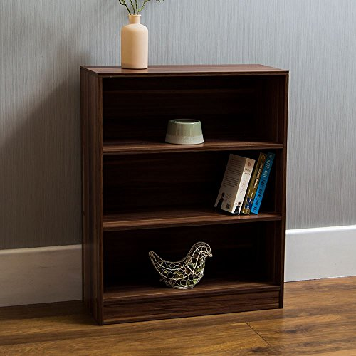 Vida Designs Cambridge 3 Tier Low Bookcase, Walnut Wooden Shelving Display Storage Unit Office Living Room Furniture