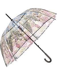 Paraguas Transparente Mujer - Paraguas Clásico de Burbuja Automatico - Estampado Flores - Fantasia a la moda - Resistente Antiviento - 89 cm de diámetro - Perletti Chic