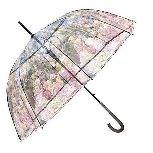 Ombrello trasparente a fiori da donna - ombrello automatico a cupola floreale rosa celeste - ombrello classico resistente e antivento con fantasia alla moda - diametro 89 cm - perletti chic