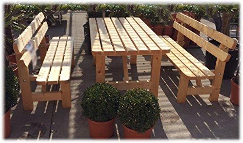 Stabile Holz Sitzgruppe Garten Garnitur 1 Tisch 2 Bänke - 3