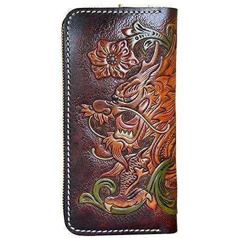 OLG.YAT® Pflanzlich gegerbtes Leder Geldbörse Portemonnaie Börse Brieftasche Handgefertigt Retro 20.5*10.5*4cm OLG-WLLTLL2