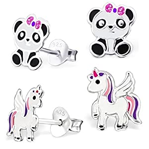2 Paar Pegasus Einhorn + Pandabär Ohrstecker 925 Echt Silber Mädchen Kinder Ohrringe Panda Pferde