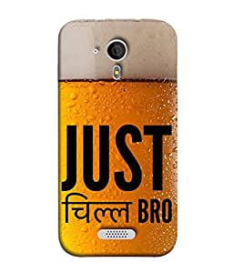 PrintVisa Designer Back Case Cover for Micromax Canvas HD A116 :: Micromax A116 Canvas HD (Just chill bro sentence looks great golden black)