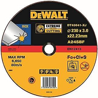 Dewalt DT43641-XJ – Pack de 10 pack de 10 discos abrasivos extreme para cortar acero inoxidable plano 230×2,5×22,2 mm