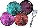 Cat Eye Farbgel Set: 4 Cat-Gele + Magnet Gelfarben: Lila, Türkis, Bordeauxbraun, Redwine Glitter UVGel