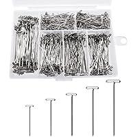 YJZ 450 pzas peluca T-Pins acero T-Pins fijación agujas para agujas para bloquear el tejido, 5 tamaños-1 pulgada, 1-1/4 pulgadas, 1-1/2 pulgadas, 1-3/4 pulgadas, 2 pulgadas