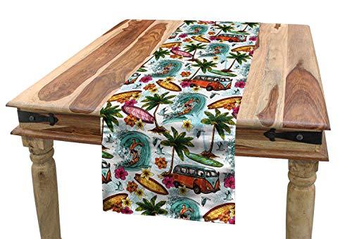 YANAN Abstrakt Tischläufer Suft Hawaii Tropisch Esszimmer Küche Rechteckiger Dekorativer Tischläufer 36 x 225 cm Mehrfarbig
