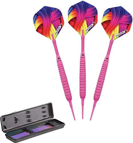 Unbekannt Elkadart Neon Soft Tip Dartpfeile mit Aufbewahrung/Reiseetui, 18 Gramm, Unisex-Erwachsene, neon pink, 18gm