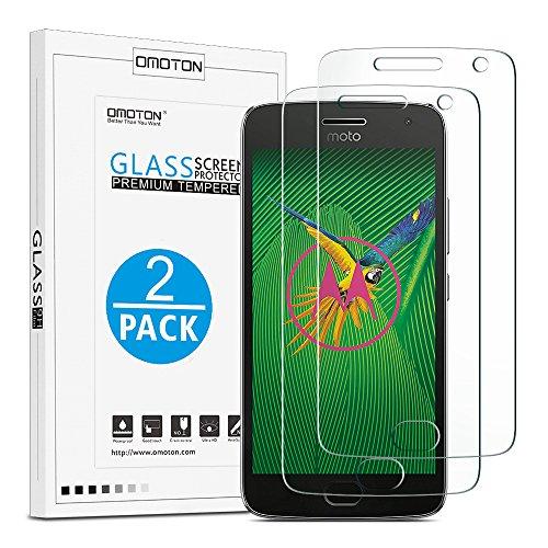 [2 Stück] OMOTON Panzerglas Bildschirmschutzfolie für Motorola Moto G5 Plus, Anti-Kratzen, Anti-Öl, Anti-Bläschen, lebenslange Garantie