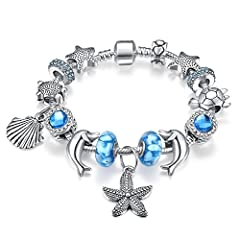 Idea Regalo - Presentski Charm Bracelet con regalo di giorno di colore blu di serie dell'oceano Madre