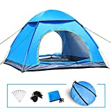 livehitop instant pop up tent large 3-4 person man, portable automatic tents uv protection for outdoor camping beach garden family, 200x200x125cm (blue)