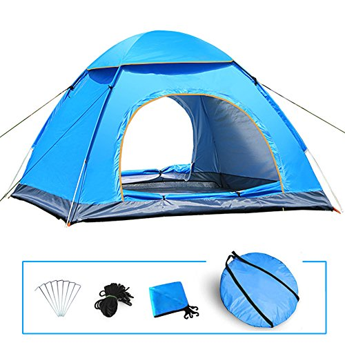 LIVEHITOP Pop Up Tente Ouverture Automatique 3 / 4 Personnes, Grande Instantanées Tentes Anti UV pour Outdoor Camping Plage Randonnée Familiale Exterieur, 200x200x125cm (Bleu)