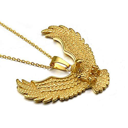Farbe Titan Edelstahl Animal Eagle Hawk Wing Anhänger Halskette Für Männer Schmuck ()