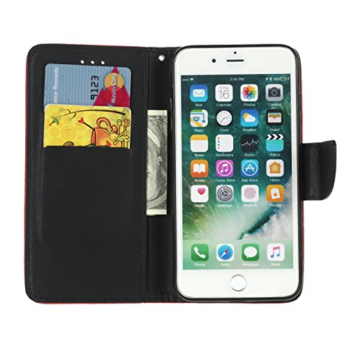 Nancen Apple iPhone 6 Plus / 6S Plus (5,5 pouces) Haute Qualité PU Cuir Flip Étui Coque de Protection Wallet / Portefeuille Case Cover Housse - Avec Carte de Crédit Fente, Fermeture Magnétique, Apple  Scharlach