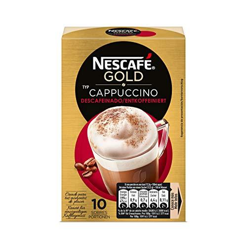Nescafé Café Cappuccino Descafeinado, Caja de sobres - Paquete de 10 x 14 gr de Café