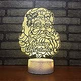 Bbdeng Lámpara LED de luz nocturna 3D Luz de Ambiente Lámparas Niños LEDInterruptor táctil Tonificacion Bebé dormido luz Creativo Color brillante Barba Blanca Navidad