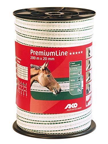 AKO PremiumLine Weidezaunband, 20 mm, weiß/grün - 200 m - Widerstand: 0,17 Ohm, Sehr Gute Leitfähigkeit - 3 x Kupfer und 3X Edelstahl Leiter - universell einsetzbar