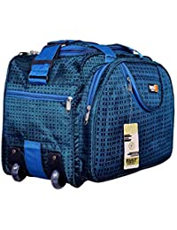 FAST FASHION Men and Women's Fabric Expandable Zip Closure Blue Travel Duffle with Wheels