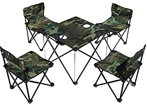 SaySure - Outdoor Foldable Table and Chair Set Camouflage Camping
