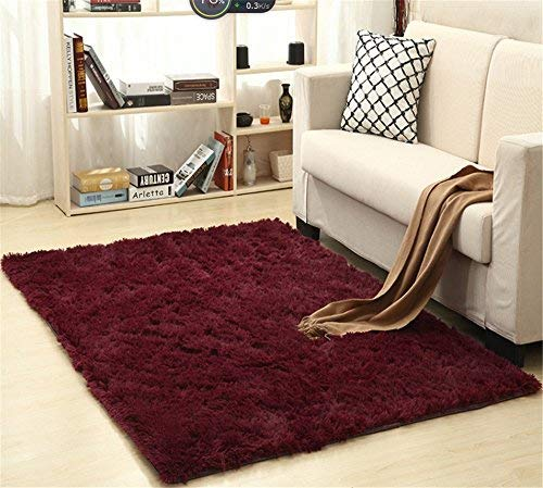 FasterS Solid Rectangle Soft Cozy Shaggy Area Rug Fluffy Thick Carpet Floor Mat for Home Living Bedroom Kids Wine red