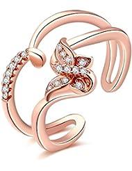 Fashion Popular anillo, Rose Gold Plated, Ajustable