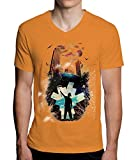 Painter in The Dark City Moon Clouds Birds Graphic Design Men's V-Neck T-Shirt XX-Large