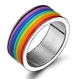Anyeda Ringe Frauen für Hochzeit Edelstahl Damenring Zum Gravieren Rainbow Gestreiftes Gummiband 9Mm Breit Ringgröße 67 (21.3)