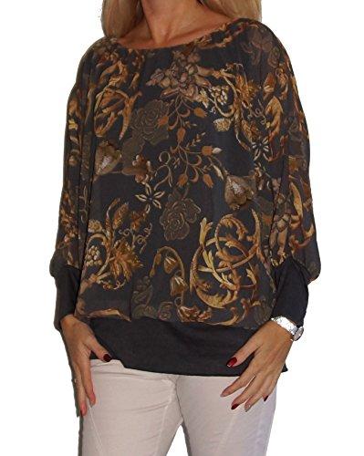 Weit geschnittene Chiffon-Bluse, Rundhals-Ausschnitt, Kurzarm o Langarm, weich unterfüttert, Uni-Größe - 36 bis 46 super Schnitt Gold Muster dunkelgrau