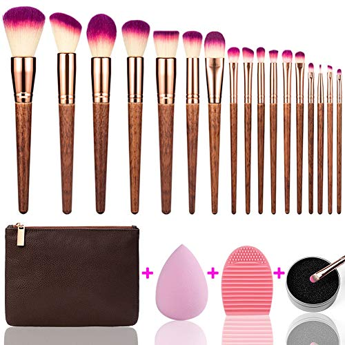 MAGIMODAC Schminkpinsel Kosmetikpinsel Gesichtspinsel Set Holz mit Tasche 17 Stück Make up Pinsel Sets Holz Pinselset Eyeshadow Lidschatten Eyeliner Augenpinsel (Holz)