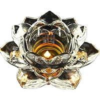 "5Soportes de Flor de loto portavelas de cristal portavelas de cristal ""meditación velas para mesa de Navidad–Pack de 2"