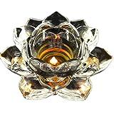 12,7cm Kristall Lotus Flower Kerzenständer Glas Teelicht Meditation Kerzen Halter Weihnachten Tisch Dekoration 2Stück