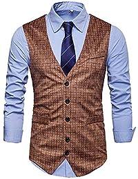 Hombre Slim Fit Chaleco Chaqueta Sin Mangas Botón Cuello V Trabajo Formal Blazer
