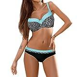 Bikini Damen Push Up LHWY Frauen Gepolstert Push-Up BH Sommer Bikini Set Vintage Retro Badeanzug Strand Sport Bademode Beachwear (2XL, Blau)