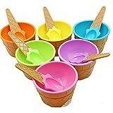 KAIMENG Eiscreme Schalen Eisbecher EIS Gefrorene Joghurtbecher mit Löffel Obst Dessertschalen Für Party (6er Set)