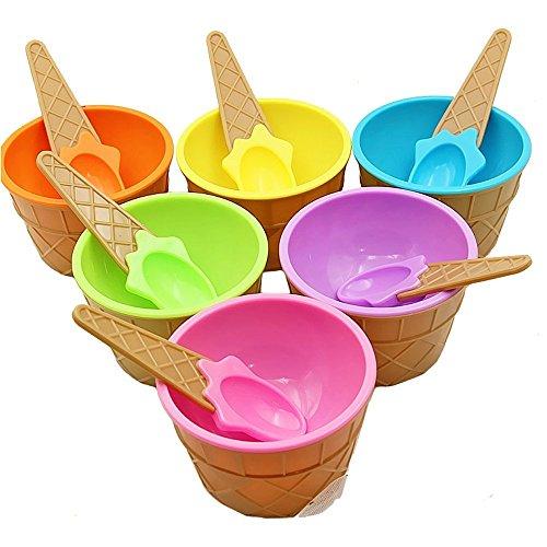 KAIMENG Eiscreme Schalen Eisbecher EIS Gefrorene Joghurtbecher mit Löffel Obst Dessertschalen Für Party (6er Set) - Dessert-schalen Mit Löffel