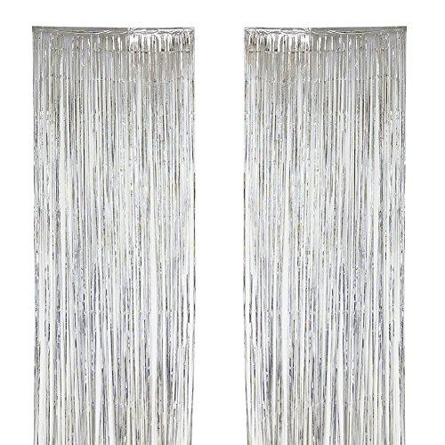 tallic Tinsel Vorhänge Folie Fringe Vorhang Schimmer Tür Fenster Dekoration für Geburtstag Hochzeit (Silber, 39,3 x 118,1 In) (Urlaub Tür Dekorationen)