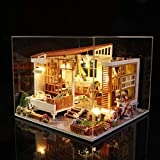 ToDIDAF Wooden Dollhouse 3D DIY Miniature House Furniture LED House Puzzle Educational Toy for Kid Birthday Valentine's Day for Bedroom Home Garden Decor - Mini Patio (with Dust Cover)