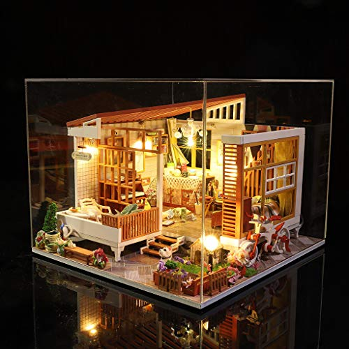 ToDIDAF Wooden Dollhouse 3D DIY Miniature House Furniture LED House Puzzle Educational Toy for Kid Birthday Valentine's Day for Bedroom Home Garden Decor - Mini Patio (with Dust Cover) (Monster High Puppen Bett)