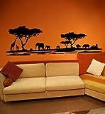 Premium Wandtattoo Wandaufkleber Afrika Elefanten Giraffen Nilpferde MAXI XXL 1,86m x 0,6 Motiv: #72 schwarz