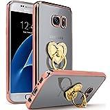 Semoss Luxe Design 360 Degré Bling Strass Bague Coque Transparent Etui TPU pour Samsung Galaxy S7 Edge Diamant Housse Protection Bumper avec Cœur Kickstand Protecteur Case Shell Skin - Rose