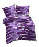 Etérea 1 tlg. extra Microfaser Kissenbezug Patchy Streifen Pflaume Lila, 1x 40x80 cm Kissenbezug