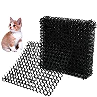 BUYGOO 5 Sheets Large Cat Spike for Garden Prickle Strip Dog Dig Stoppers Cat Repellent Mat Dog Scat Mats Sharp Anti Dig Mat for Dogs Foxes Cats Animals(15 x 15inches)