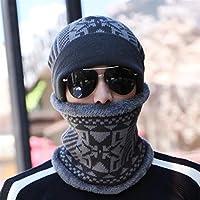 BaBaSM Praktisch Strickmütze Schal Cap, Outdoor Strickmütze Schal Cap Neck Warmer Winter für Männer Frauen Skullies Mützen Fleece